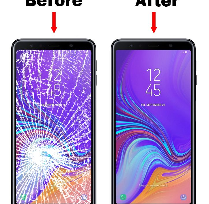 samsung a750 a7 2018 telefono stikliuko keitimas